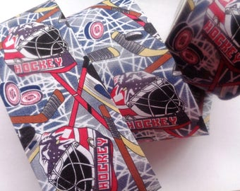 """Hockey Cotton Ribbon Trim, Multi Color, 2 1/2"""" inch wide, 1 yard, For Gifts, Scrapbook, Decor, Accessories, Mixed Media"""