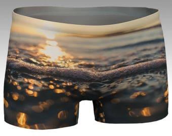 Sunset Sea Foam Yoga Shorts - Kits Beach, Vancouver, BC