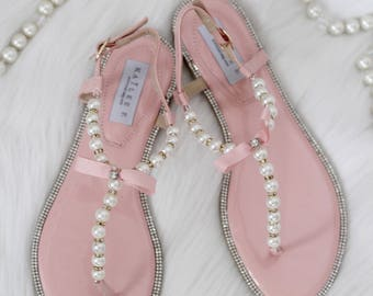 Women Pearls Flat Sandals - CORAL Patent Pearl/Rhinestones flat sandal. Perfect for bridesmaid gifts, wedding party