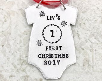 Baby First Christmas Ornament Personalized - Baby Christmas Ornament - Baby Onesie Outfit Christmas Ornament - Personalized Baby Ornament