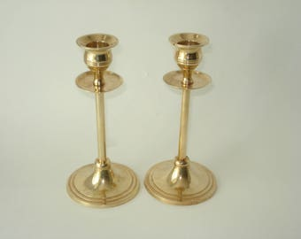 Two Brass Candlesticks -  Matching Pair - Taper Candle - Retro Candle Holders Decor