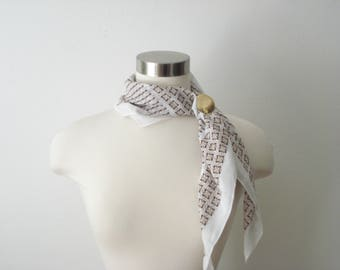 Vintage Brown and White Cotton Scarf - Square Lightweight Scarves - Women's Accessories 1970s
