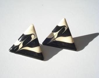 1980s Triangle Earrings - Cream and Black Enamel - Pierced Fashion Jewelry