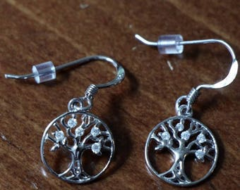 Family Tree of Life Earrings- Sterling Silver- Family Tree Jewelry- Mothers Day- Christmas- Grandmother- Gift- Jewelry