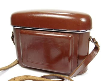 Vintage Chestnut Brown Leather Folding Camera Case with Chrome Trim