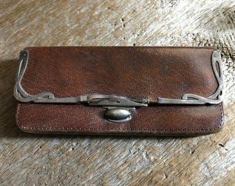 Antique French Leather Coin Purse, Victorian Era, Steampunk, Silver Hallmarks