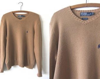 Camel Color Polo Ralph Lauren Sweater - 90s Preppy Minimalist Lightweight V Neck Knit Jumper - Mens Small