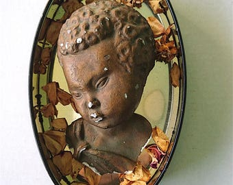 Cherub's Head 1920s-30s, Mythological, Gold Painted, Plaster, Distressed - Vintage/Antique Original Plaster Head, Cherub/Angel