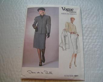 Vintage Vogue Pattern 1841 Oscar de la Renta American Designer Miss Jacket Skirt Blouse