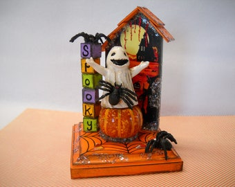 Halloween decoration, ghosts, spiders, pumpkins, Halloween house, party décor, altered art, OOAK, halloween nic nac, table decoration