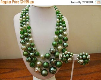 On Sale Vintage 2pc Green Beaded Triple Strand Necklace and Earring Set Item K # 2084
