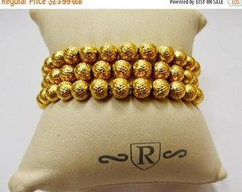 On Sale TRIFARI Textured Triple Strand Metal Beaded Bracelet Item K # 1046