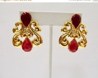 ON SALE Retro Ornate Cranberry Enameled Earrings Item K # 1353