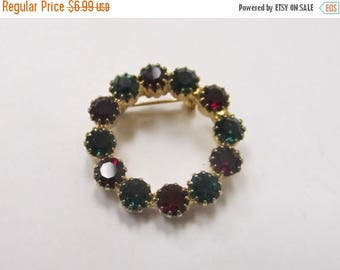 ON SALE Vintage Red and Green Prong Set Rhinestone Pin Item K # 2438