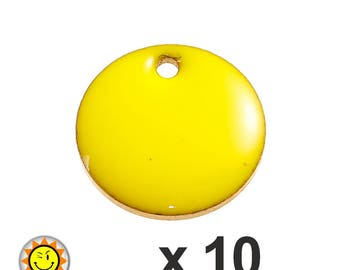 x 10 sequins 12mm yellow enamel charms