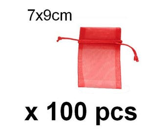 Lot 100 small red 7x9cm organza sleeves