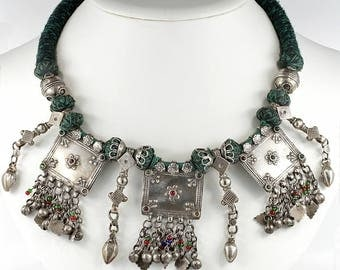 Antique solid silver Rajasthani necklace
