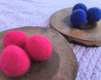Solid Wool Pet Toys (Set of 6 in Small - hot pink, blue) Hand-felted colorful wool, cat nip oil scent for FREE if desired! Catnip Pet Toys