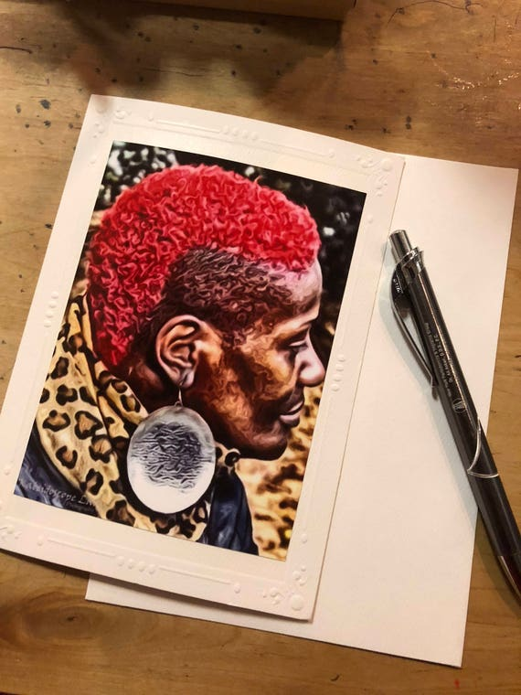 Sisters Red Afro. Warrior. Dreadlock Greeting Card. Handmade Cards. Afro Art. Locs Art. Friendship Cards. Natural Hair Art