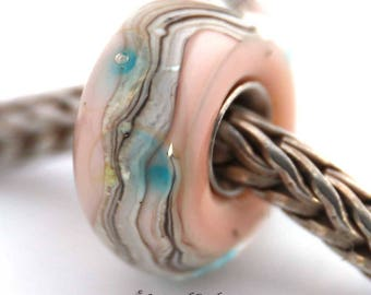 murano lampwork glass bead SRA artist handmade euro big hole lampwork glass pink bead with sterling silver core - Made To Order - S929