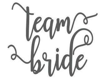 Custom Bridal Vinyl Wine Glass Decals, Team Bride