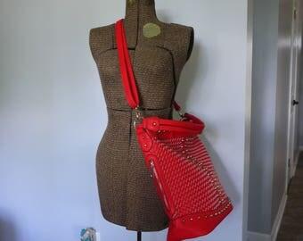 Red Woven Padded Bag   Crossbody Camera Bag   Ladies Camera Bag
