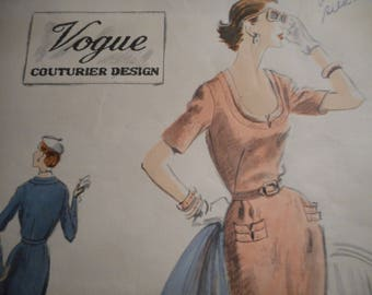 Vintage 1950's Vogue No. 631 Couturier Design Dress Sewing Pattern Size 14 Bust 32