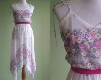 1970s Sheer Sundress - Boho Floral White Daydream Dress - Small