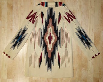 Vintage 30s Wool Chimayo Coat Jacket Native American Indian Blanket 1930s