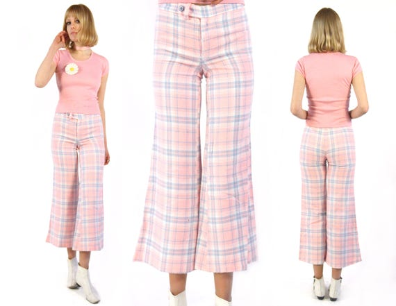 Vtg 70s Cotton Candy Plaid Flares W28