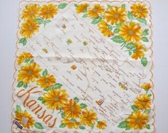 vintage Kansas handkerchief hanky by Franshaw: Kansas map and sunflowers