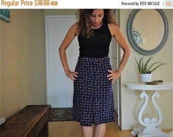 "SALE Navy Rose Skirt Vintage Handmade Blue Secretary Mad Men M 30-31"""