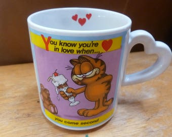 Enesco Garfiled heart handle mug you're in love when you come second 1978