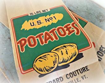 advertising potato bag / vintage potato sack / brown paper potato bag / farmhouse decor / wall hanging / vintage advertising / NOS