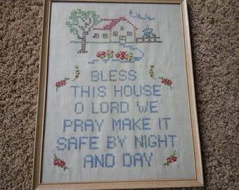 Vintage cross stitch verse, framed