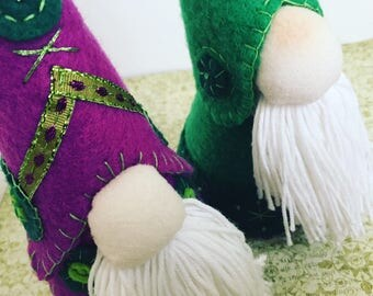 Tomte the Green & Purple ~ hand sewn and embroidered felt Tomte (Nisse)