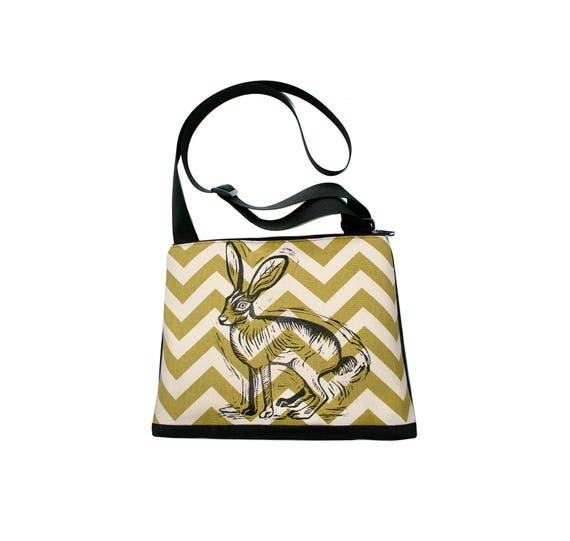 Jackrabbit, block print, green, chevron, vegan, vegan leather, large, cross body bag