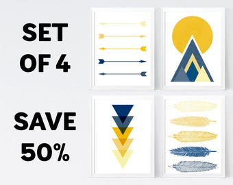 50% OFF, Yellow Gold Mustard + Blue Navy Wall Art - Temporary Offer - Only 1 Unit Available - INSTANT DOWNLOAD