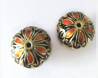 2pc 18.5X13.5 flat round handmade Cloisonne Beads-6109b
