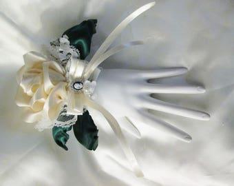 Large Ivory rose wrist corsage