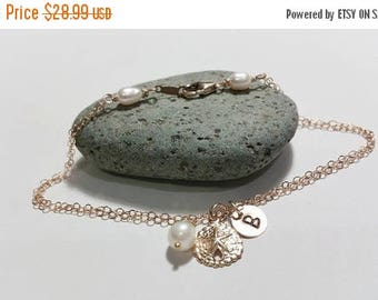 ON-SALE Gold Fill Charm Bracelet - Double Chain, Pearl - Sand Dollar - Initial Bracelet, Beach Wedding Theme, Summer Jewelry