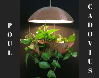 Mid Century Lighting - Poul Cadovius Flower Lamp RS50 - Large Copper Hanging Planter - Royal System, HF Belysning, Denmark - Danish Modern