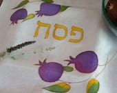 Passover Seder table traditional Hand Painted Silk Matzah cover, Purple Pomegranate Design, unique Judaica Art from Israel, Jewish Gift OOAK