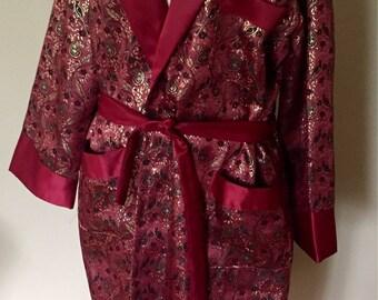 Vintage Smoking Jacket Robe Metallic Paisley