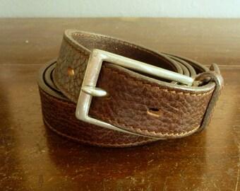 Vintage Eddie Bauer Dark Chocolate Brown Leather Trad / Ivy League Leather Belt Size 42.  Made in USA.