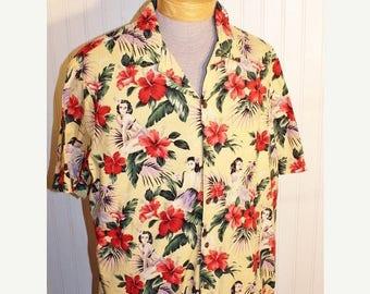 50% Off Sale Men's Vintage Island Aloha Wear Hawaiian Shirt Cotton 2XL Yellow Hibiscus Hula Girl