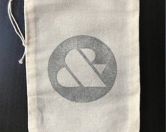 """Hand Stamped Ampersand Cotton Drawstring 5x7"""" Muslin Bags"""
