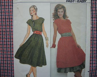 vintage 1980s Butterick sewing pattern 4395 fast and easy  misses dress petticoat and sash size 12-14-16