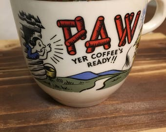 Vintage Mug for Dad, Paw The Coffee is Ready, Mug for The Cool Dad, Retro Mug, Mid Century Mug