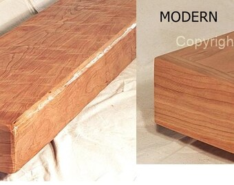 Cherry Beam Fireplace Mantel Mantle Shelf Rustic or Modern Made in USA to your size